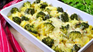 Zapiekanka z rybą, ziemniakami i brokułem