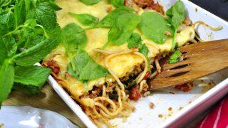 Zapiekanka spaghetti ze szpinakiem