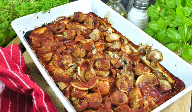 Schab zapiekany z pieczarkami i cebulą